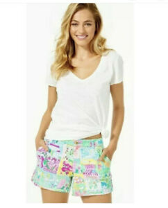 NEW Lilly Pulitzer Callahan Pop Up Lilly State Of Mind Ponte Knit Shorts Sz 4