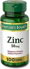 Nature's Bounty Zinc,Immune Support ,Antioxidant/Skin Health ,50mg Caplets 100ea