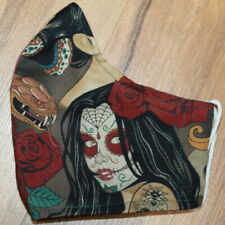 Face Mask Nocturna sugar skull occult witch horror Filter Pocket fabric M-Adult