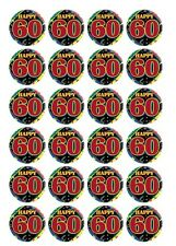 24 x Happy 60th birthday black Edible Image Cupcake Toppers Pre-Cut