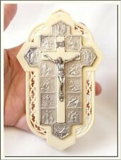VINTAGE ITALIAN VIA CRUCIS - 14 STATIONS of CROSS SILVER P. & CELLULOID PLAQUE !