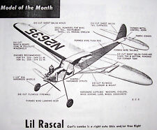 """Vintage LIL RASCAL PLANS for 1/2A 27"""" & 36"""" Span UC /FF to Build Model Airplanes"""