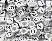 "L/P: Silbergrau Acryl Buchstaben ""A-Z"" Würfel Spacer Perlen Beads 6x6mm"