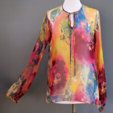 Maggie Ward 100% Silk Sheer Chiffon Peasant Blouse Tunic Top Painterly OS S M L