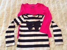Tu 2Xlong Sleeve T-Shirts Age 6-7 Pink And Black /Cream Stripe