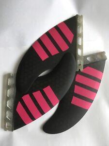 Futures set of 3 Thruster set Surfboard surf fins Black & pink Honeycomb surfing