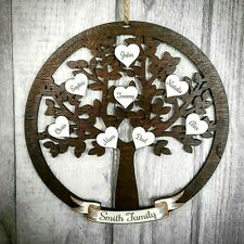 Personalised Wooden Circle Family Tree Hearts Gifts Name