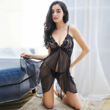 Sexy Sissy Sheer Lace Badydoll Black with Thong Set Women Lingerie Nightwear