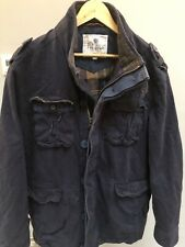 Mens Fat Face Military Wax Style Jacket Cotton Field Navy Coat Size L