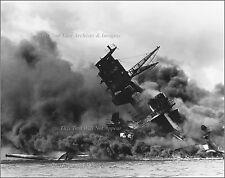 Photo Sea Level: USS Arizona Sunk & Burning, Pearl harbor, Dec 7th, 1941