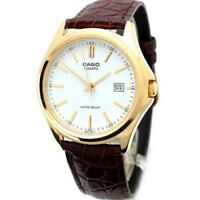 3-Hand Analog Men's Water Resistant Genuine Leather Band Watch MTP1183Q