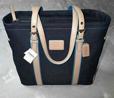 NEW COACH BLUE DENIM VACHETTA TRIM LG GALLERY BOOK TOTE SHOULDER BAG PURSE RARE!