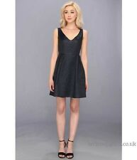 FRENCH CONNECTION Katari deep V blue fit n flare jacquard dress Size 4