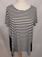 M&S Collection Oversize Top - Size 18 - Navy & White - Striped - Cotton Blend