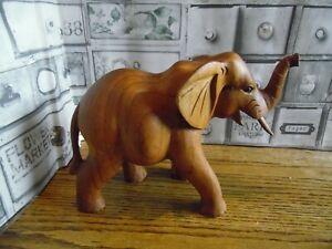 Vintage Natural Finish Hand Carved Soar Wood Elephant