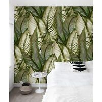 Green Palm Monstera Leaves Non-Woven wallpaper Floral Tropical traditional Mural