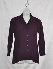Linea by Louis Dell'Olio Wing Collar Blouse w/ Swing Hem Size S Blackberry