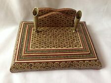 Vintage Khatam Star Inlay Wood Desk Letter & Pen Set Holder
