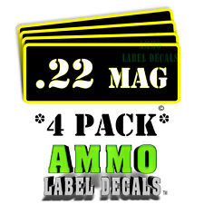 """.22 Mag Ammo Label Decals Ammunition Case 3"""" x 1"""" Can stickers 4 PACK -YWbkRD"""