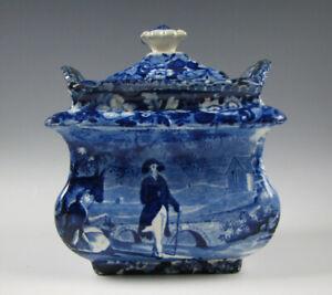 Antique Historical Dark Blue Staffordshire Sugar Bowl