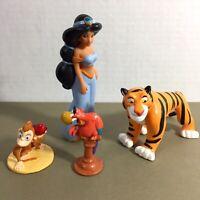 Lot of 4 Disney Aladdin Toys PVC Jasmine Iago Parrot Abu Monkey Rajah Tiger