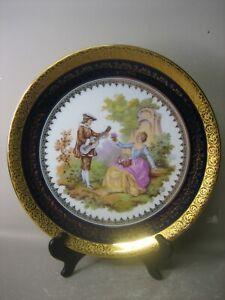 Large MONARCH Porcelain d'Art Limoges France decorative plate and stand RARE