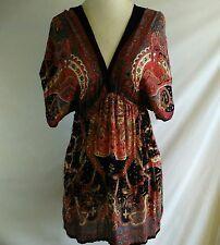 Angie Womens M Boho Tunic Top Black Red Paisley Print Short Sleeve Empire Waist