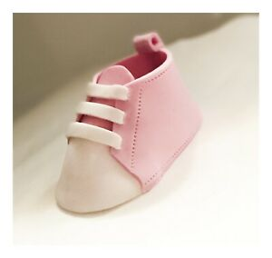 Pink Baby Booties Girl Cake Decoration Topper Edible Baby Shower