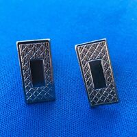 Vintage Gentry Signed Silver Tone Metal Cuff Links Rectangular Mens Accessories