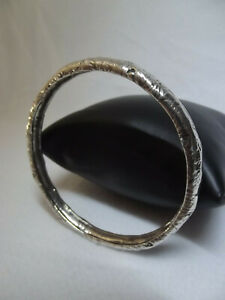Bracelet Vintage ARGENT Massif 925 (+28gr) Rigide Jonc Non-Ouvert (ø6,3cm maxi⚠)