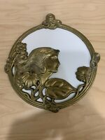 Vintage Ornate Art Nouveau Wall hanging Solid Brass Mirror Lady Frame.
