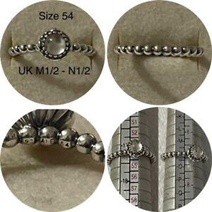 PANDORA APRIL BIRTHSTONE RING SIZE 54 UK M12 - L 12 190854BK DISCONTINUED
