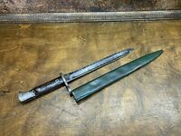 Vintage WWI Swiss Model 1896 Bayonet Neuhausen w scabbard / Hard to Find