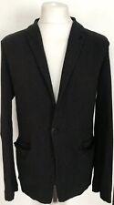 Mens TRANSIT UOMO Black Cotton Linen Blend Blazer Sport Coat Jacket - Size Small