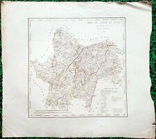 Dépt 71 - Atlas Royaume de France Rare Carte Aquarellée 45x40 cm + Texte - 1825