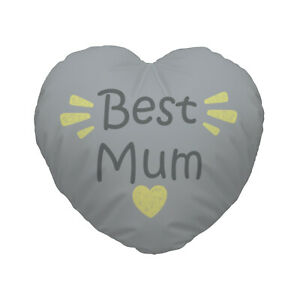 Grey & Yellow Best Mum Design Heart Shaped Cushion Mother's Day Gift