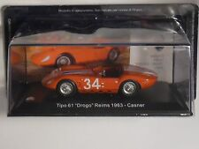 """MASERATI TIPO 61 """"DROGO """" REIMS 1963 on blister pack, magazines part works.HD22"""