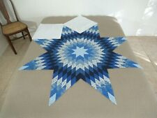 """Vintage UNFINISHED Quilt TOP, Blue LONE STAR, Machine Pieced; 64"""" Tip To Tip"""