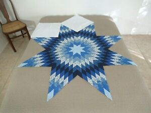 "Vintage UNFINISHED Quilt TOP, Blue LONE STAR, Machine Pieced; 64"" Tip To Tip"