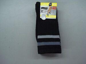 NWT No Nonsense XSport Performance Crew Socks Shoe Size 4-10 Black 2 Pair #839C