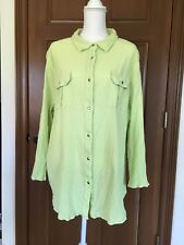 WOMAN WITHIN 2X GREEN TOP BLOUSE SNAP FRONT