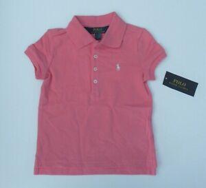 NWT Ralph Lauren S/S Long Placket Classic Pink Mesh Polo Shirt Sz 4 4/4t NEW $35