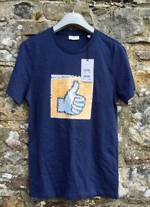 """NEXT Boys Navy Blue Summer T-Shirt Thumbs Up Sequins New with Tags Age XS 33-35"""""""