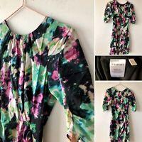 WHISTLES Floral Spring Garden Silk Dress UK6 Green Pink Zip Back Cocoon Sleeve