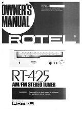 Rotel RT-425 Tuner Owners Instruction Manual