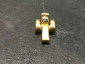 Time of Vintage - Ciondolo Oro Giallo 18 Kt Croce Chimento Diamante RIVB-155