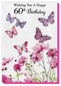 """Age 60 Birthday Card - Female Ladies Flowers Glitter - 7.5""""x5"""" 60th Sixty A"""