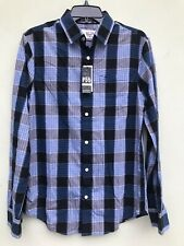 PENGUIN Shirt Small Mens Navy Blue Plaid Button Front Slim Fit NEW $89