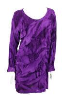 New Greater Good Dress Womens Size XL Tie Dyed Purple Ruffle Mini Long Sleeve