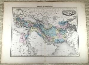 1903 Antique Map The Empire of Alexander The Great Old Hand Coloured Engraving